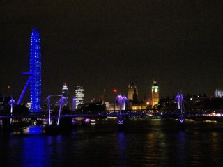 A view of the Thames at night