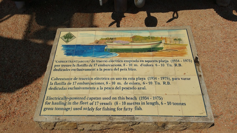 A plaque stone on the beach in LIoret de Mar