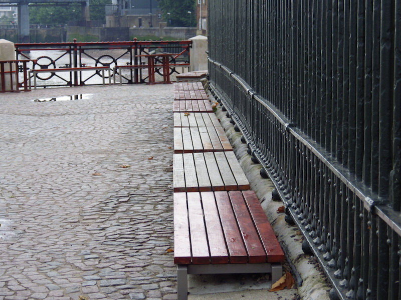 Benches along Greenwich embankment