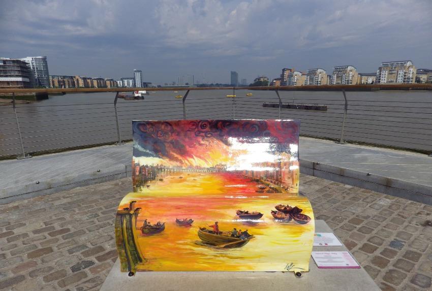 A book bench along Greenwich embankment