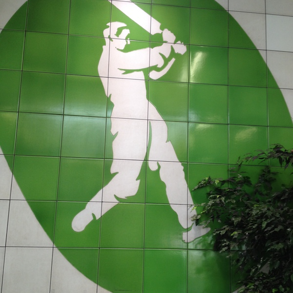 Oval cricket batsman