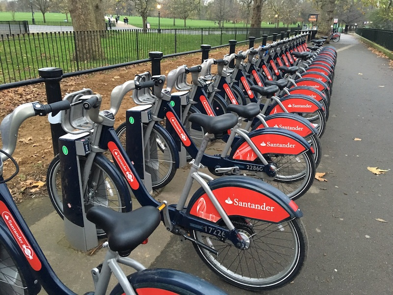 A row of Santander cycles