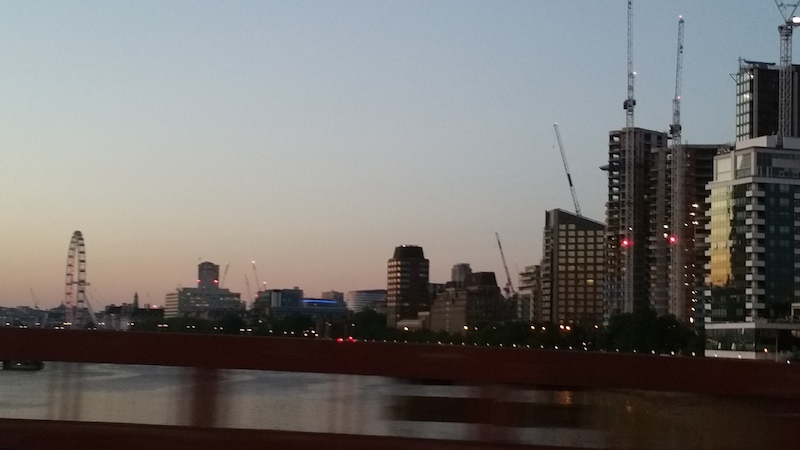 A view of London near Battersea at sunset