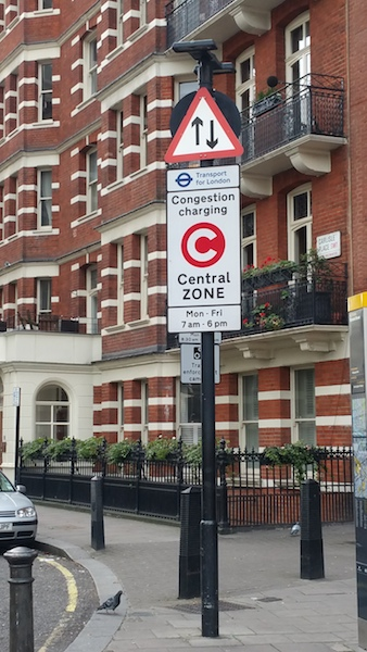 Single yellow line and Congestion Charge Zone
