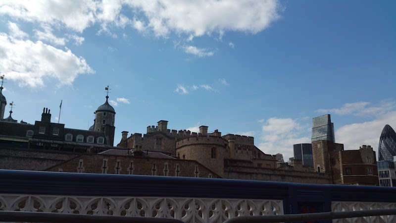 Stroll across Tower bridge with the Tower of London in view