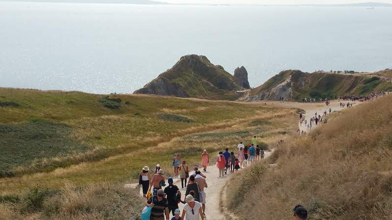 Travellers walking towards Durdle Door and Man O War bay