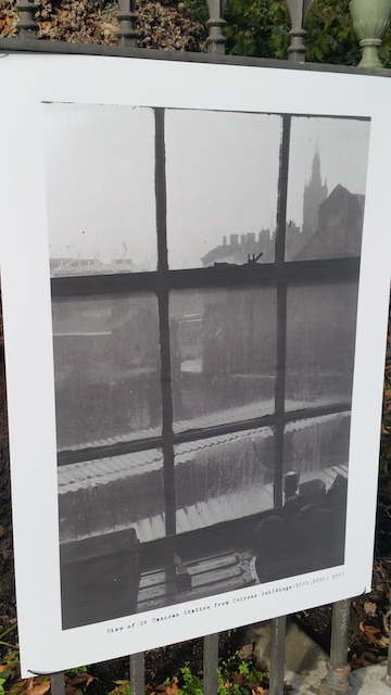 A misty view of King's Cross from a window