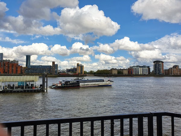 Uber boat on the Thames in London