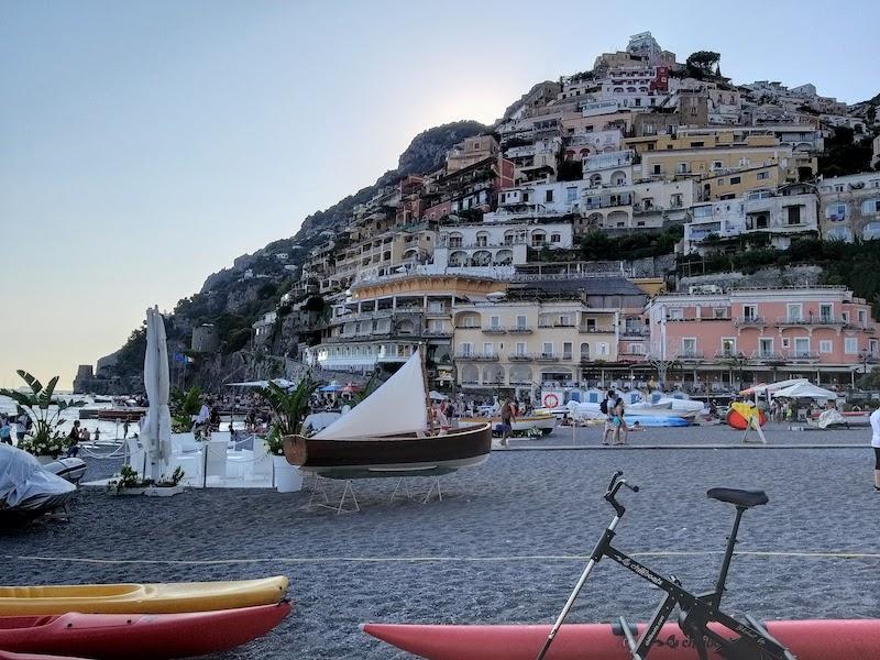 The beach in Positano
